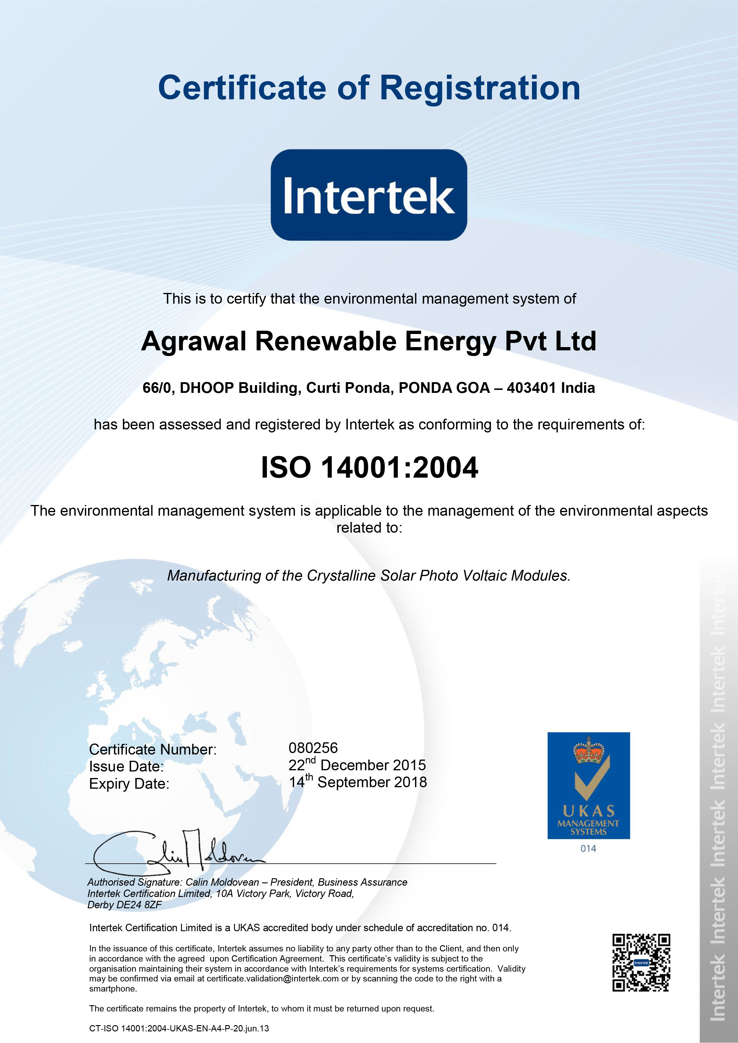 080256 Agrawal Renewable Energy Pvt Ltd 14001