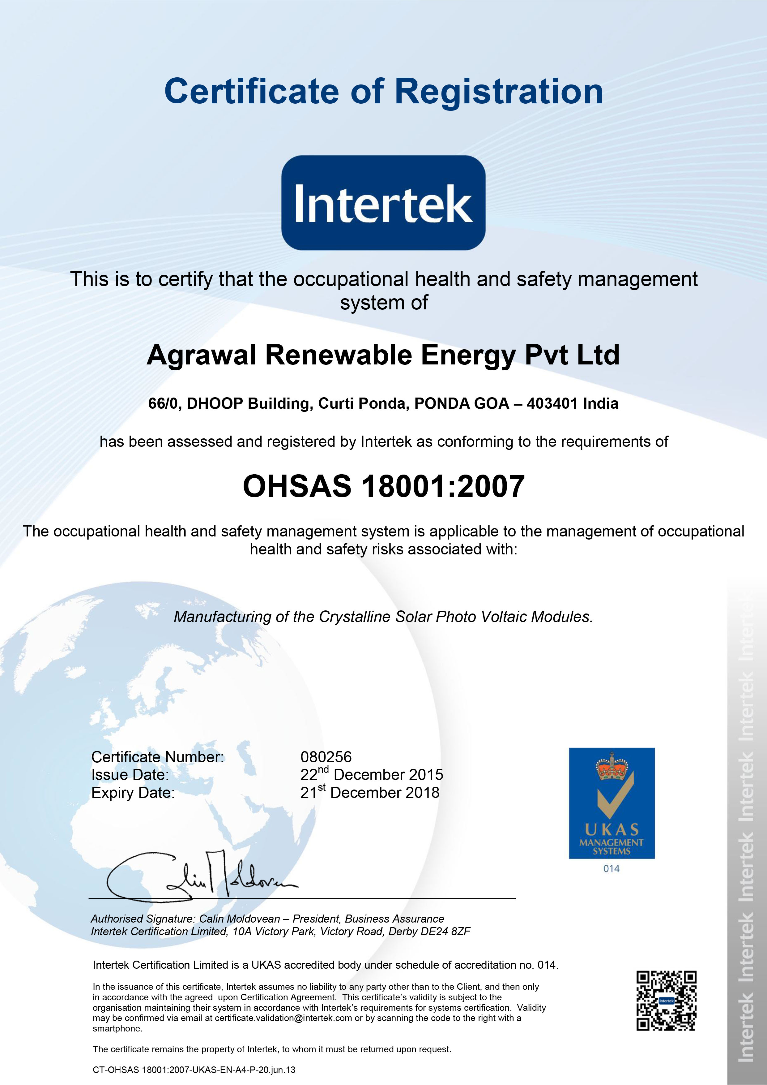 080256 Agrawal Renewable Energy Pvt Ltd 18001