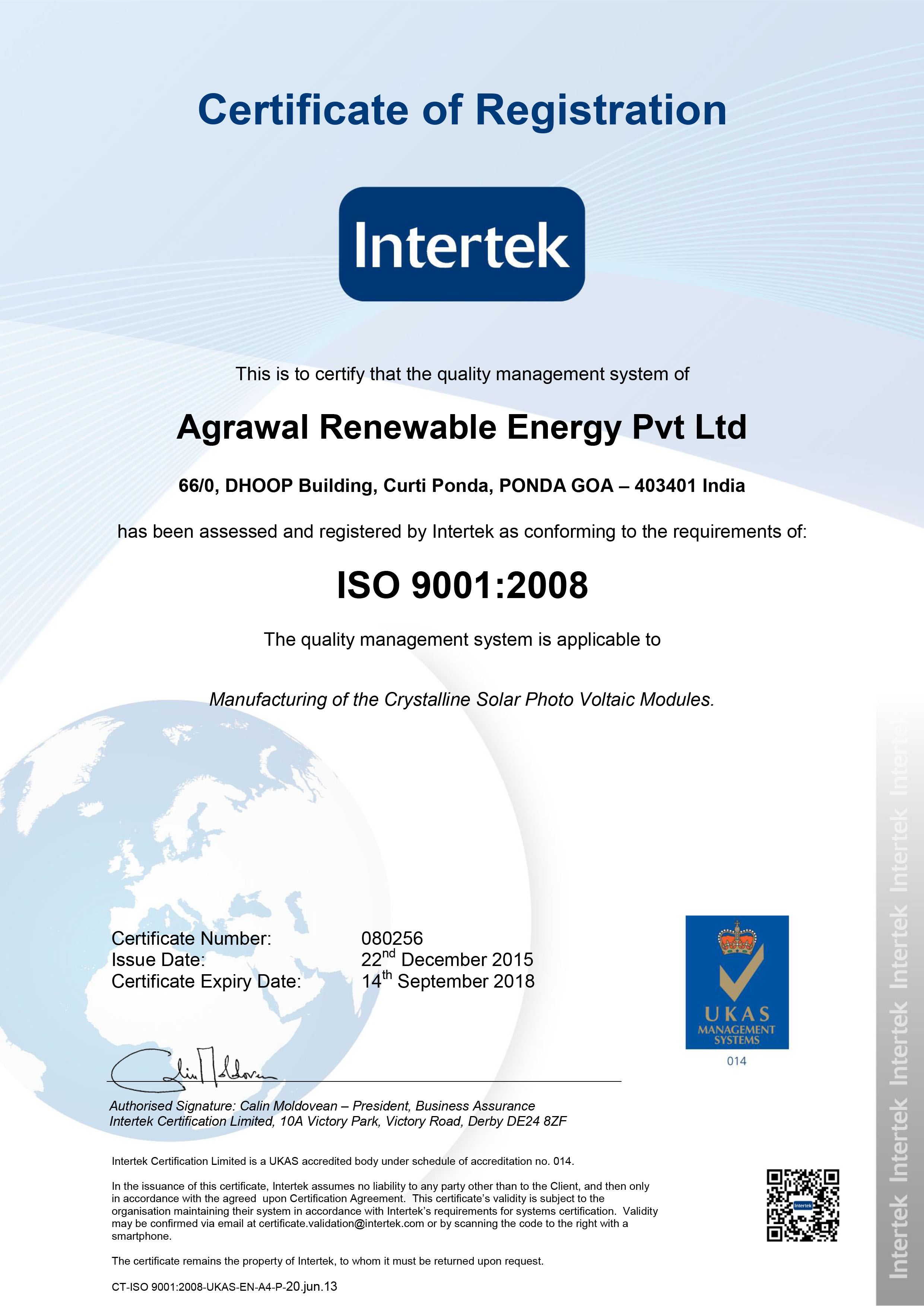 080256 Agrawal Renewable Energy Pvt Ltd 9001